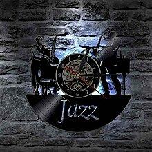 MBKYSZ Musicien de Jazz Horloge Murale en Vinyle