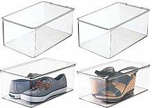 mDesign boîte de rangement pour chaussures avec