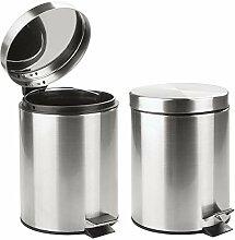 mDesign poubelle à pédale 5 L (lot de 2) –