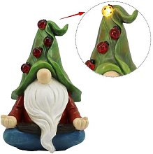 Méditer Gnome Statue de Jardin Solaire LUMIÈRE