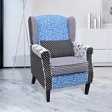 Meelady Fauteuil patchwork relax de style campagne