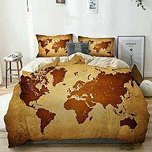 MEJX Parure de lit,Beige,Ancienne Carte du Monde,1