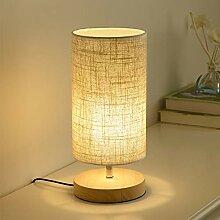 Mengjay Lampe de chevet en bois rond vintage avec