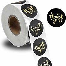 Merci Sticker , 2,5 cm Noir Merci Autocollants
