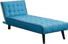 Méridienne convertible BAYOU en tissu - Bleu et