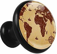 Métal Boutons de Meuble Carte du monde boussole