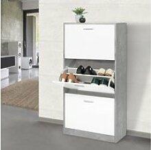 Meuble à chaussures effet béton 3 portes blanches