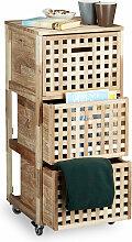 Meuble à roulettes 3 caisses compartiments bois