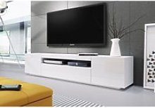 Meuble banc tv blanc laque  - 2m00