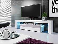 Meuble Banc Tv Blanc Sans Leds - 1M90 -