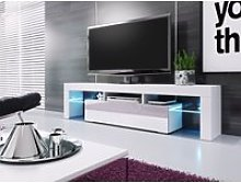 Meuble banc tv blanc sans leds  - 1m90