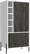 Meuble bar bois mélaminé effet chêne blanc et