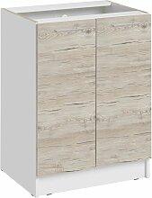 Meuble bas de cuisine - 1 porte L 60 cm - décor