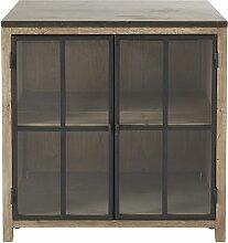 Meuble bas de cuisine 2 portes vitrées en pin