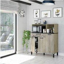 Meuble bas de cuisine 3 portes + 1 tiroir bois -