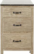 Meuble bas de cuisine 3 tiroirs en pin recyclé