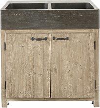 Meuble bas de cuisine pour évier 2 portes en pin