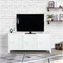 Meuble bas meuble tv cabinet métal blanc 3 portes