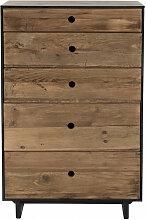 Meuble chiffonnier 5 tiroirs bois pin recyclé