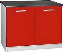Meuble cuisine bas 120 cm 2 portes TARA rouge