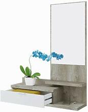 Meuble d'entrée mural avec tiroir et miroir