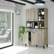 Meuble de cuisine 108x40x186 cm chêne et gris