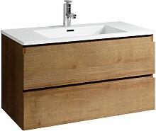Meuble de salle de bain Angela 90cm lavabo F. Oak