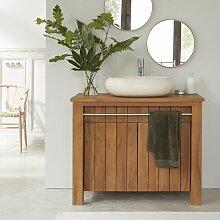 Meuble de salle de bain en bois de teck 103 cm -
