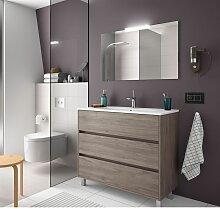 Meuble de salle de bain sur le sol 100 cm Chêne