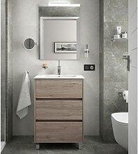 Meuble de salle de bain sur le sol 60 cm Chêne
