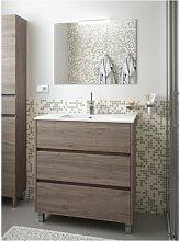 Meuble de salle de bain sur le sol 80 cm Chêne