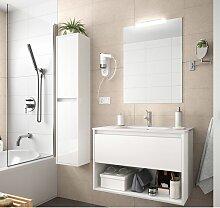 Meuble de salle de bain suspendu 100 cm Blanc