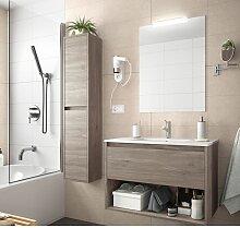 Meuble de salle de bain suspendu 100 cm Chêne