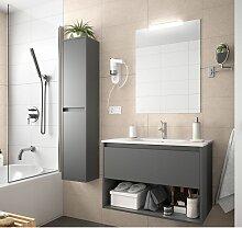 Meuble de salle de bain suspendu 100 cm gris