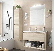 Meuble de salle de bain suspendu 100 cm marron