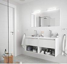 Meuble de salle de bain suspendu 120 cm Blanc