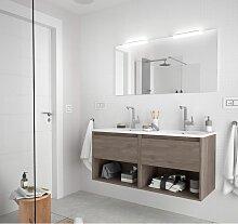 Meuble de salle de bain suspendu 120 cm Chêne