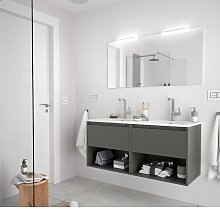 Meuble de salle de bain suspendu 120 cm gris