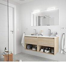 Meuble de salle de bain suspendu 120 cm marron