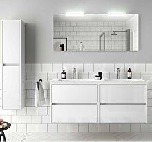 Meuble de salle de bain suspendu 140 cm Blanc