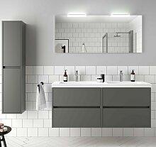 Meuble de salle de bain suspendu 140 cm Gris mat