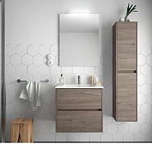 Meuble de salle de bain suspendu 70 cm Chêne