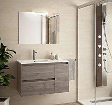 Meuble de salle de bain suspendu 85 cm Chêne