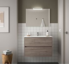 Meuble de salle de bain suspendu 90 cm chêne