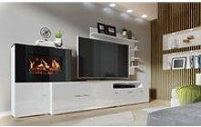 Meuble de salon avec cheminée électrique à 5