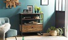 Meuble étagère en bois recyclé et métal -