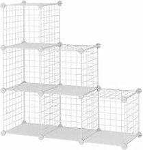 Meuble étagère modulable grille 6 casiers blanc
