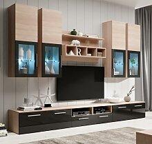 Meuble Mural TV Acosta sonoma et noir (3 m)