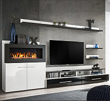 Meuble Mural TV avec cheminée Erica blanc et noir
