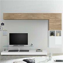 Meuble mural TV blanc et couleur chêne clair
